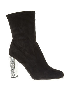 Black Crystal Heel Boots by Day Vine