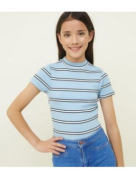 Girls Blue Stripe High Neck Fitted T Shirt by New Look