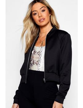 Petite Cropped Bomber Jacket by Boohoo