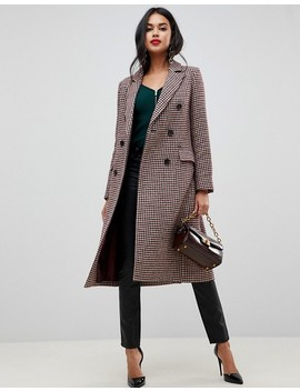 Morgan Double Breasted Maxi Coat In Check by Morgan