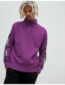 Napapijri Beja 1/4 Zip Tape Logo Sweat In Purple by Napapijri