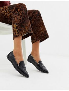 River Island Croc Embossed Loafers With Stud Detail In Black by River Island