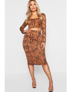 Plus Tan Snake Print Bodycon Midi Skirt by Boohoo