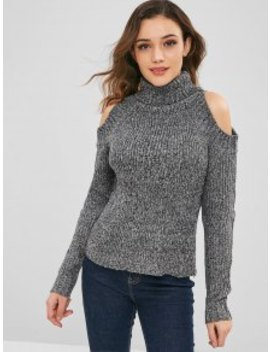 Heathered Cold Shoulder Turtleneck Sweater   Carbon Gray by Zaful