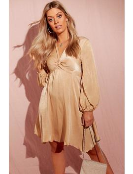 Plus Hammered Satin Blouson Sleeve Skater Dress by Boohoo