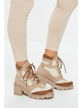 Tan Contrast Panel Lace Up Boots by Missguided