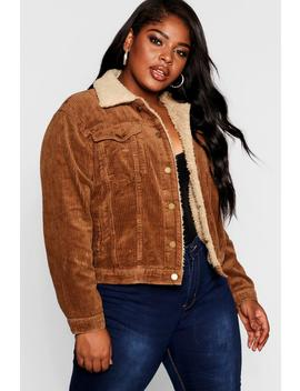 Plus Jumbo Cord Borg Collar Jacket by Boohoo