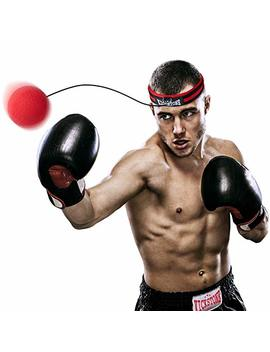Boxing Ball   Fight Reflex Ball On String With Headband In Bag, Equipment For Training Speed Reaction Focus Punch Hand Eye Coordination, Kit For Pro Mma Fighter Kids Adult by Kickstone
