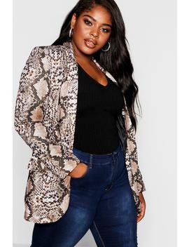 Plus Snakeskin Tailored Blazer by Boohoo