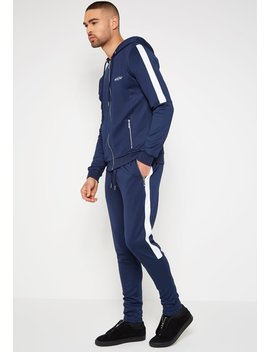 Mdv Tracksuit Jacket With Stripe   Navy by Maniere De Voir
