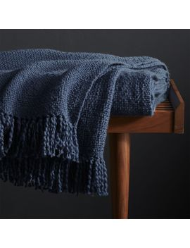 Styles Blue Fringe Throw Blanket by Crate&Barrel