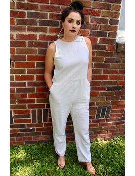 Handmade One Of A Kind Vintage White Jumpsuit With Pockets by Etsy