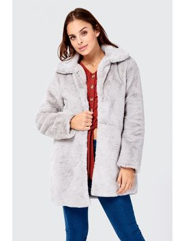 Teddy Fur Detail Longline Coat by Select