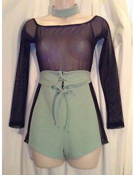 Wishe Black Sheer Long Sleeves Off Shoulder Top Green Bottom Short Romper D4 P22 by Wishe