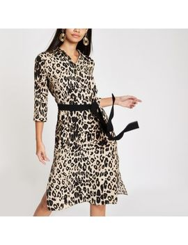 Brown Leopard Print Tie Waist Shirt Dress by River Island