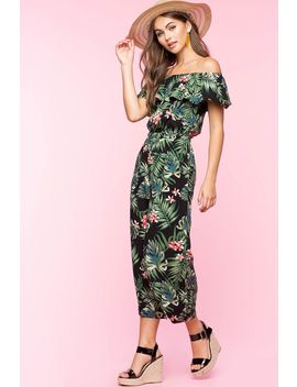 Tropical Flounce Off Shoulder Jumpsuit by A'gaci