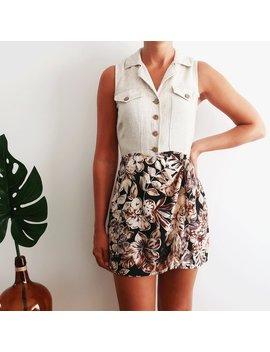 Vintage Jumpsuit Dress, Print Playsuit, Linen Jumpsuit, Floral Jumpsuit, Short Jumpsuit, Vintage Clothing, Women's Clothing by Etsy