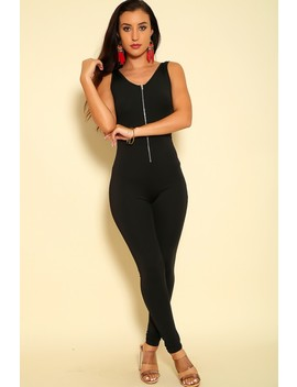 Sexy Black Front Zipper Sleeveless Jumpsuit by Ami Clubwear