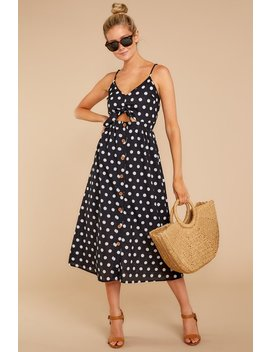 The Entire Package Black Polka Dot Midi Dress by Entro