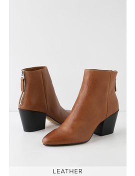 Coltyn Brown Leather Pointed Toe Ankle Booties by Dolce Vita