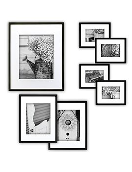 Gallery Perfect 7 Piece Black Photo Frame Wall Gallery Kit With Decorative Art Prints & Hanging Template by Gallery Perfect