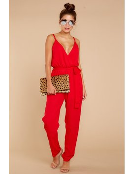 Jump Into Things Red Jumpsuit by Aura