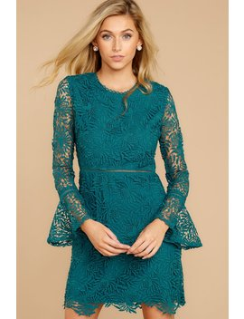 Take It Your Own Way Teal Lace Dress by Ina Fashion