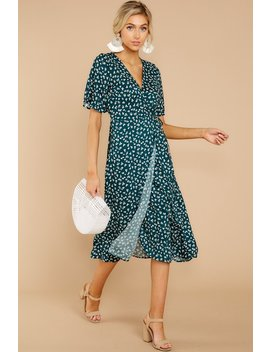 Whispering Perfection Teal Midi Dress In Prep For It by Dee Elly