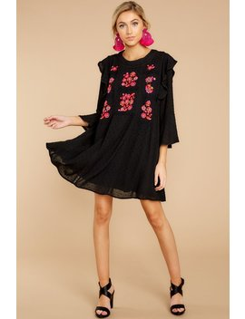 Call It What It Is Black Embroidered Dress by See And Be Seen