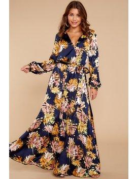 Take Advantage Navy Floral Print Maxi Dress by Aakaa