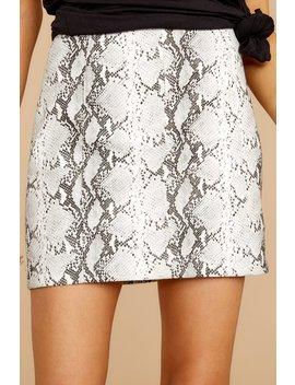 Twice Shy GreySnake Print Skirt by Honey Punch