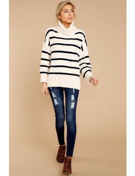 Bring It On Winter Navy Stripe Turtleneck Sweater by Pol Clothing