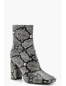Wide Fit Snake Block Heel Sock Boots by Boohoo
