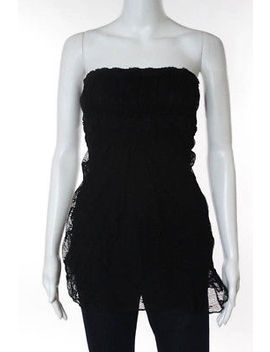 Ann Ferriday Black Strapless Lace Ruffled Waist Blouse Size One Size New by Ann Ferriday