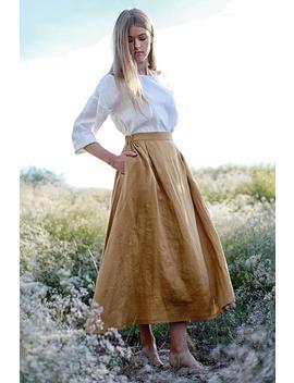 Linen Skirt,  Maxi Linen Skirt, Mustard Linen Skirt, Linen Skirt With Pockets, Linen Maxi Skirt, Ruffled Back Skirt, Long Linen Skirt by Etsy