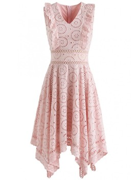 A Divine Dream Floral Eyelet Dress In Pink by Chicwish
