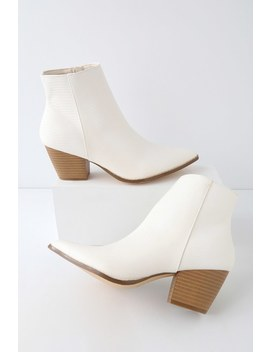 Spirit Ivory Snake Pointed Toe Ankle Booties by Lulus X Matisse