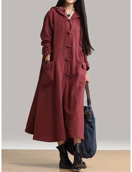 Vintage Frog Button Long Sleeve Hooded Maxi Coat Dresses by Newchic
