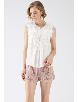 Daily Delights Floral Crochet Trims Stripe Top In White by Chicwish