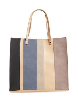 Adeline Stripe Faux Leather Tote by Emperia