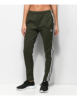 Adidas 3 Stripe Olive Track Pants by Adidas