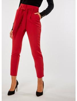Red Tie Tapered Trousers by Dorothy Perkins