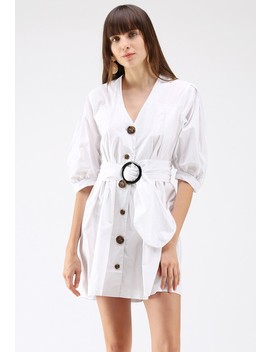 Radiant In Buttons V Neck Dress In White by Chicwish