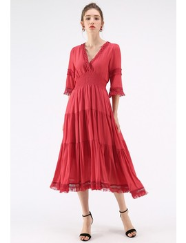 Upcoming Vogue Wrapped Maxi Dress In Red by Chicwish
