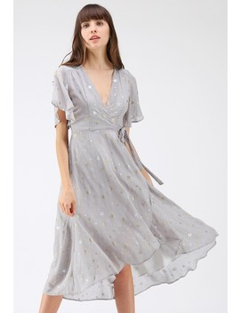 Wishing On Stars Wrap Dress In Grey by Chicwish