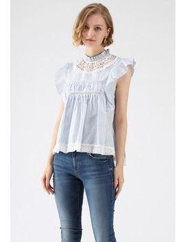 Lovely And Ruffly Stripe Top With Crochet Insert by Chicwish