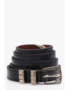 Western Buckle Skinny Belt by Boohoo