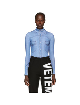 Blue Shirt Print Bodysuit by Vetements