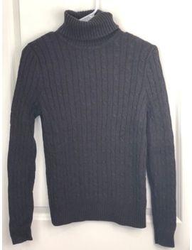 Women's Jeanne Pierre Brown Cotton Cable Knit Turtleneck Sweater Small by Jeanne Pierre