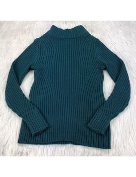 Lands' End Women's S Green High Mock Neck Ribbed Sweater by Lands' End